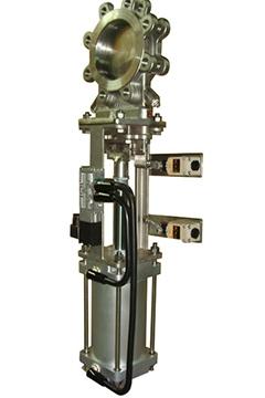 Pneumatic stainless steel knife gate valves
