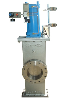 Pneumatic knife gate valves with handwheel