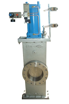 Pneumatic sealed slide knife gate valves